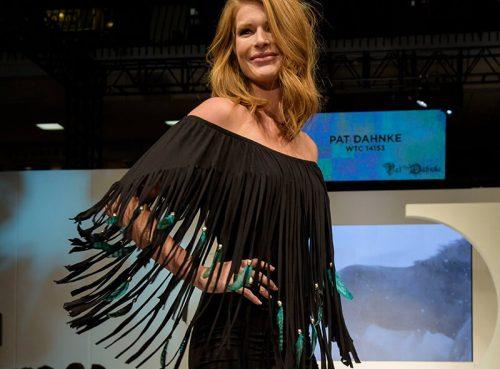 woman runway black fringe