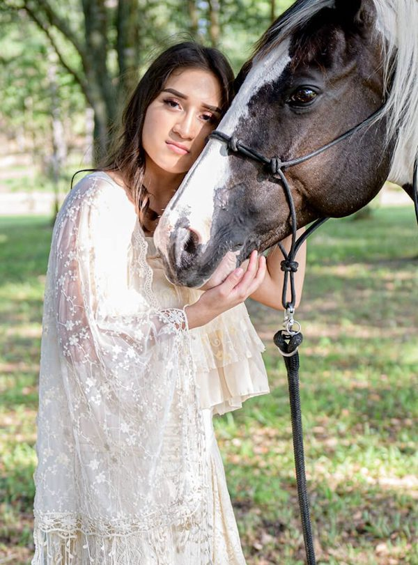young girl white gown horse